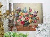 優美 薔薇のある静物画 油絵