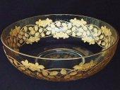 ボヘミアンガラス 金彩彫刻 薔薇のボウル