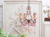 甘美 ピンクの大粒オパールセントドロップ 4灯シャンデリア