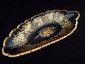 ボヘミアンガラス 金彩花紋 彫刻 トレイ