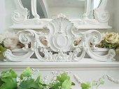 優美 木製薔薇彫刻の フレンチオーナメント