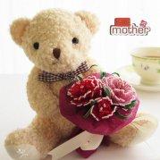 ビーズフラワーキット  くまさんからのプレゼント 母の日のカーネーション花束