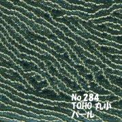TOHO ビーズ 丸小 糸通しビーズ バラ売り 1m単位 ts284 パール加工 ビーズ グリーン系