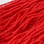 【訳あり】チェコビーズ 約6m 小さめ丸小糸通しビーズ 不透明レッド