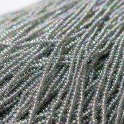 【訳あり】チェコビーズ? 約6m 小さめ丸小糸通しビーズ グレー(オーロラ)