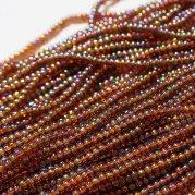 【訳あり】チェコビーズ? 約6m 小さめ丸小糸通しビーズ 赤茶紫(オーロラ)