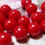 【訳あり】不透明赤、プラスティック?丸玉 約8� 18個入り