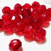 【訳あり】不透明赤、プラスティック?カット玉 やや透明赤 約8� 20個入り