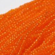 【訳あり】日本製? 約6m 丸小糸通しビーズ 透き濃オレンジ