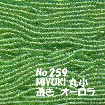 MIYUKI ビーズ 丸小 糸通しビーズ  お徳用 束 (10m) M259 透きオーロラ 黄緑