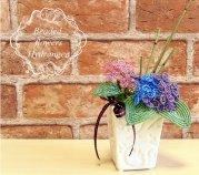 ビーズフラワーキット  紫陽花の白陶器アレンジ