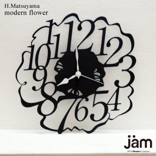 【選べるムーブメント電波時計orスイープクオーツ】modern flower ウォールクロック壁掛時計