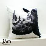 Animal side face for Cushion White rhinoceros(シロサイ) ふわふわクッション
