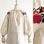 FG395 1910年代ウクライナ製赤い薔薇刺繍9分袖ホームスパンリネンワンピース
