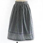 FG427 1960年代西ドイツ製紺白ストライプ裾レース木綿のスカート