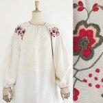 FG441 1910年代ウクライナ製丸い花刺繍ホームスパンリネンワンピース