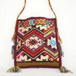 B0956 1960年代 トルコ製キリム手織りフォークロア斜め掛けバッグ