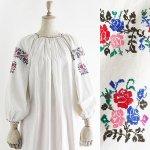 FG482 1950年代ウクライナ製カラフル薔薇刺繍メティスリネン8分袖ワンピース