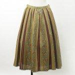 FG500 1960年代西ドイツ製カーキベージュxレッドフローラルストライプ柄木綿のスカート
