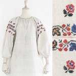 FG527 1910年代ウクライナ製青の葉と赤い薔薇刺繍シャンブルリネン七分袖ワンピース