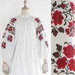FG542 1950年代ウクライナ製赤い薔薇刺繍メティスリネン長袖ワンピース