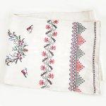 L0075 1950年代ウクライナ製パステル野花と小鳥刺繍リネンルシネーク
