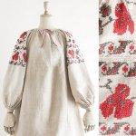 FG558 1910年代ウクライナ製赤いビオラ刺繍シャンブルリネン八分丈袖ワンピース