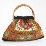 B0994 1960年代オーストリア製綾織ウールスカーフバンブーハンドルバッグ
