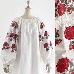 FG572 1950年代ウクライナ製赤い大きな薔薇刺繍リネンワンピース