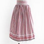 FG581 1960年代西ドイツ製先染めストライプxリボン木綿のチロルスカート