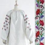 FG583 1910年代ウクライナ製カラフルアザミの花模様刺繍ホームスパンリネン長袖ワンピース