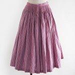 FG587 1960年代オーストリア製ピンクxパープル先染めストライプ木綿のチロルスカート