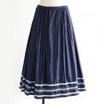 FG588 1960年代西ドイツ製藍色フローラルストライプサテンリボン木綿のスカート