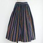 FG591 1950年代アメリカ製コットンカラフルストライプざっくり綾織りスカート