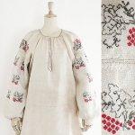 FG594 1920年代ウクライナ製赤い木の実とアウトラインリーフ柄刺繍ホームスパンリネンワンピース