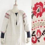 FG595 1920年代ウクライナ製赤い花刺繍ホームスパンリネンワンピース