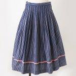FG646 1960年代西ドイツ製藍色先染めストライプベルベットリボン木綿のスカート