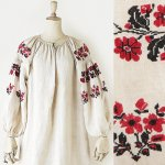 FG649 1910年代ウクライナ製薔薇とひなげしの花刺繍ホームスパンリネン長袖ワンピース