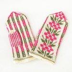 A0372 1960年代ラトビア製アイボリーxピンク花柄手編みウールミトン