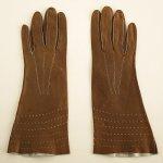 A0352 1950年代アメリカ製タンカラーキッドレザーパンチングロング手袋