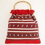 B0825 1960年代スウェーデン製フォークロア手織りxバンブーバッグ