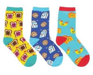 "<img class='new_mark_img1' src='//img.shop-pro.jp/img/new/icons4.gif' style='border:none;display:inline;margin:0px;padding:0px;width:auto;' />Sock Smith<br>【Kids】Novelty crew ""Best Foods Forever"""