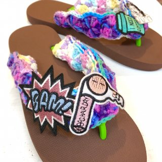 <img class='new_mark_img1' src='https://img.shop-pro.jp/img/new/icons50.gif' style='border:none;display:inline;margin:0px;padding:0px;width:auto;' />Tie-Dye Yarn Sandals(Brown)