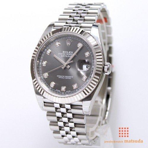new product e9cee 164e4 ロレックス 126334G デイトジャスト41 ダークロジウム 10Pダイヤ ジュビリーブレス