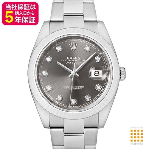 premium selection 34ca3 fddaa ロレックス 126334G デイトジャスト41 ダークロジウム 10Pダイヤ オイスターブレス