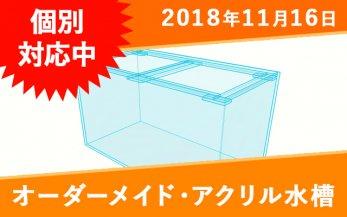 オーダーメイド アクリル水槽 W1200×D250×H250mm 背面のみ無色半透明(磨りガラス調)