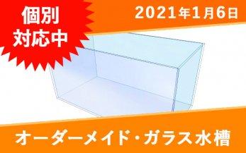 オーダーメイド ガラス水槽 W450×D200×H260mm 仕切り・ガラス蓋付き