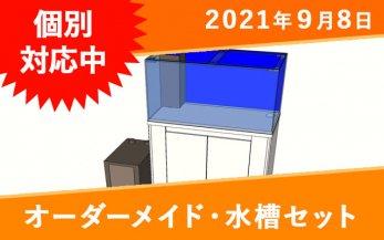 オーダーメイド 水槽セット(水槽+濾過槽+水槽台) W500×D300×H450mm 板厚5mm