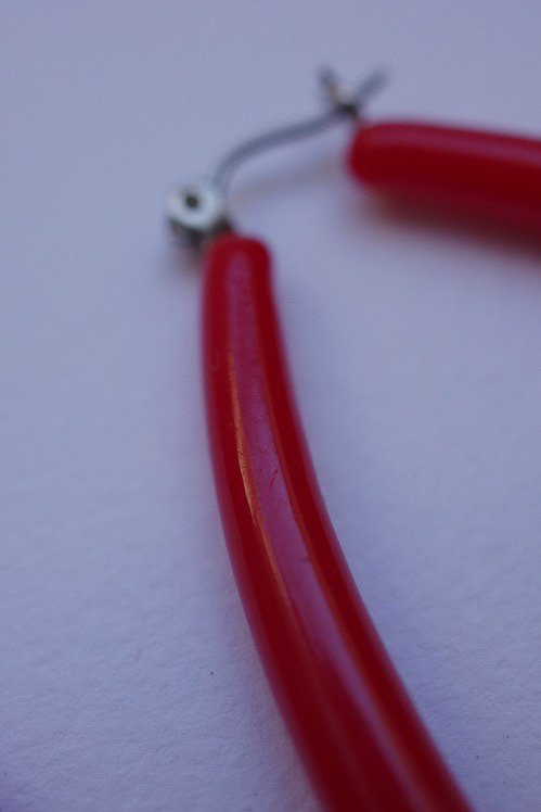 boucles d'oreilles ヴィンテージ ピアス rouge