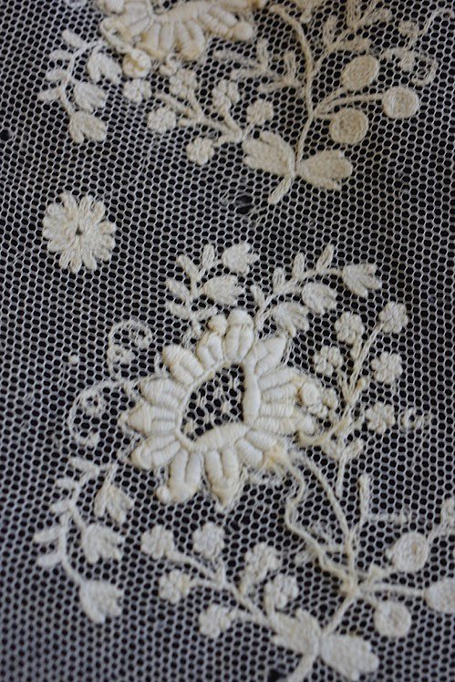 dentelle antique brode fond de bonnet アンティーク 刺繍 lot 5